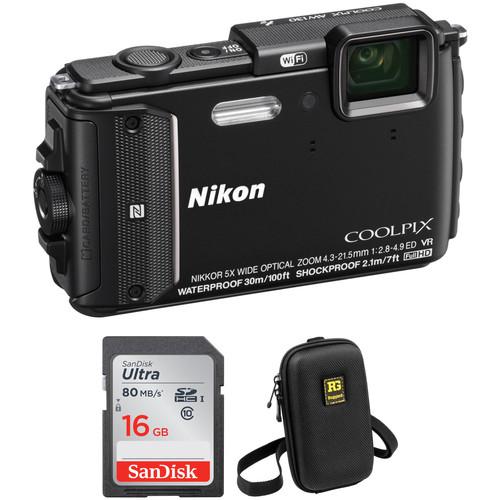 Nikon COOLPIX AW130 Waterproof Digital Camera Basic Kit (Black)