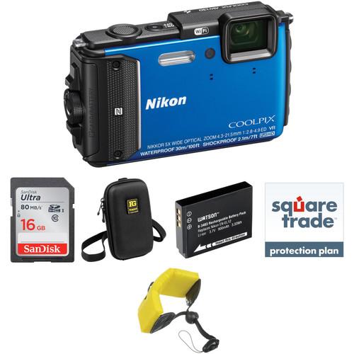 Nikon Nikon COOLPIX AW130 Waterproof Digital Camera Deluxe Kit (Blue)