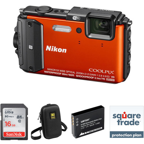 Nikon Nikon COOLPIX AW130 Waterproof Digital Camera Deluxe Kit (Orange)