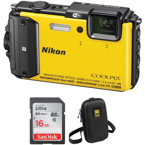 Nikon COOLPIX AW130 Waterproof Digital Camera Basic Kit (Yellow)