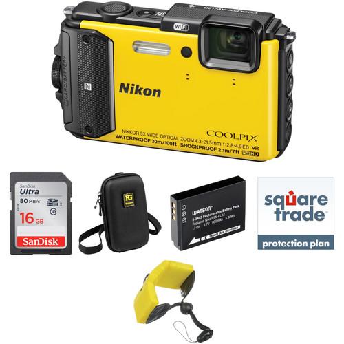 Nikon Nikon COOLPIX AW130 Waterproof Digital Camera Deluxe Kit (Yellow)