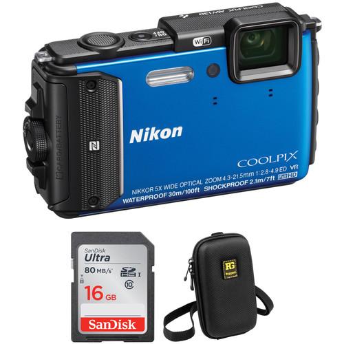 Nikon COOLPIX AW130 Waterproof Digital Camera Basic Kit (Blue)