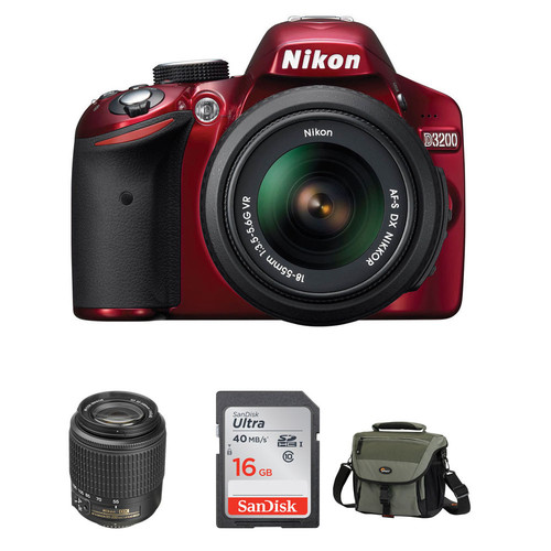 Nikon D3200 DSLR Camera with 18-55mm and 55-200mm Lenses (Red)