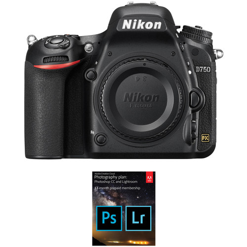 Nikon D750 DSLR Camera Body with Adobe Creative Cloud 12-Month Subscription Kit