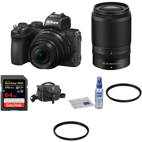 Nikon Z 50 Mirrorless Digital Camera with 16-50mm and 50-250mm Lenses and Accessories Kit