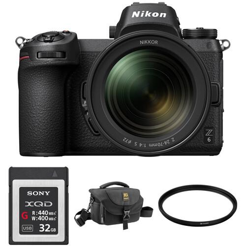 Nikon Z 6 Mirrorless Digital Camera with 24-70mm Lens, FTZ Mount Adapter, and Bag Kit