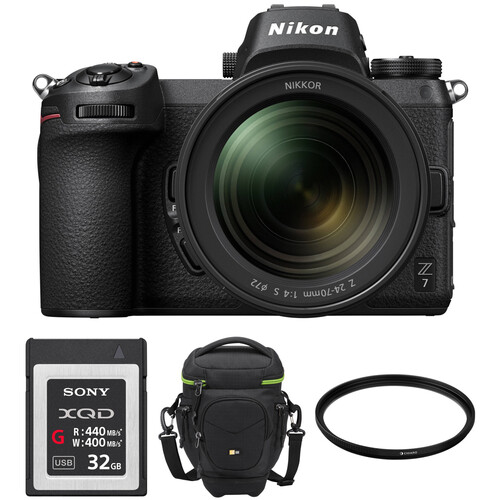 Nikon Z 7 Mirrorless Digital Camera with 24-70mm Lens, FTZ Mount Adapter, and Bag Kit
