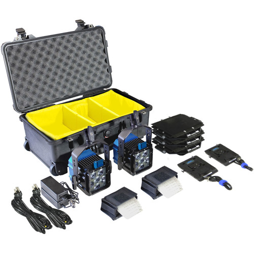 Nila Double Zaila Bicolor LED Kit with V-Mount Battery Plates