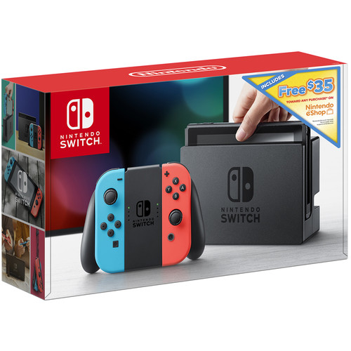 Nintendo Switch with Neon Blue and Red Controllers + $35 Nintendo eShop Credit Download Code Bundle
