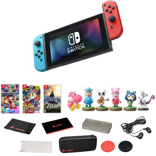 Nintendo Switch with Three Games & amiibo Kit (Neon Blue & Red Joy-Con)