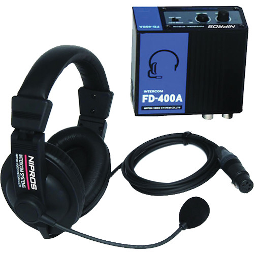 Nipros FD-400A Wired BNC Intercom System with Belt Pack & Dual-Ear Closed-Back Headset