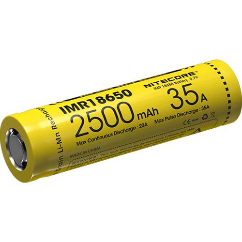 Nitecore IMR 18650 Rechargeable High-Drain Li-Mn Battery (3.7V, 2500mAh)