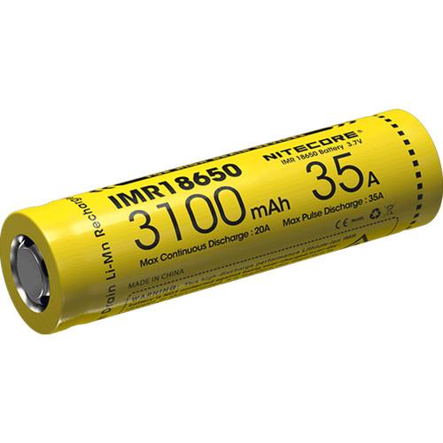 Nitecore IMR 18650 Rechargeable High-Drain Li-Mn Battery (3.7V, 3100mAh)