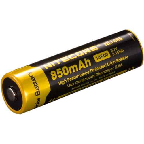 Nitecore NL1485 14500 Rechargeable Lithium-Ion Battery (3.7V, 850mAh, 3.15Wh)