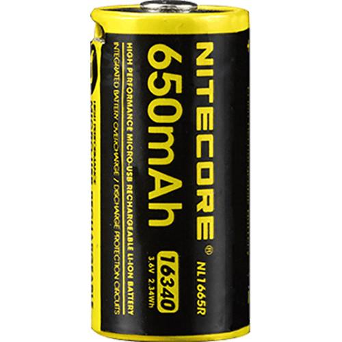 Nitecore NL1665R 16340 Rechargeable Li-Ion Battery (3.6V, 650mAh, 2A)