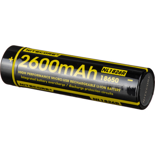 Nitecore 18650 Rechargeable Li-Ion Battery with Micro-USB (3.7V, 2600mAh)