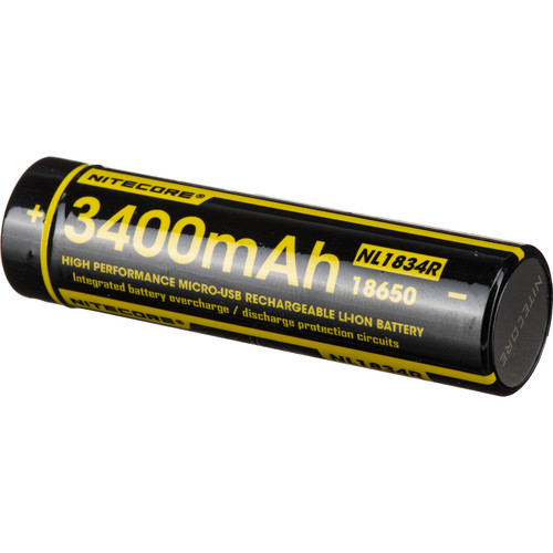 Nitecore 18650 Rechargeable Li-Ion Battery with Micro-USB (3.6V, 3400mAh)