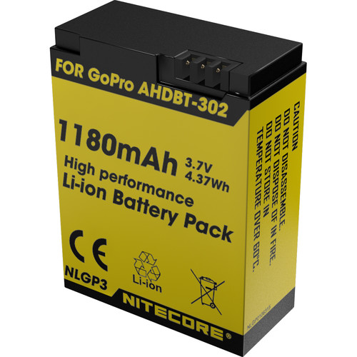 Nitecore NLGP3 High Performance Li-Ion Battery Pack for GoPro HERO3/3+