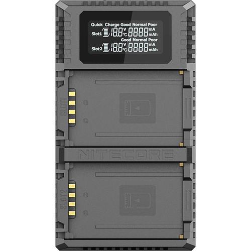 Nitecore ULM10 PRO Dual-Slot USB QC Charger for BP-SCL5 Lithium-Ion Batteries