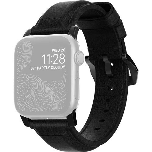 Nomad Traditional Leather Watch Strap for 42mm/44mm Apple Watch (Black, Black Hardware)