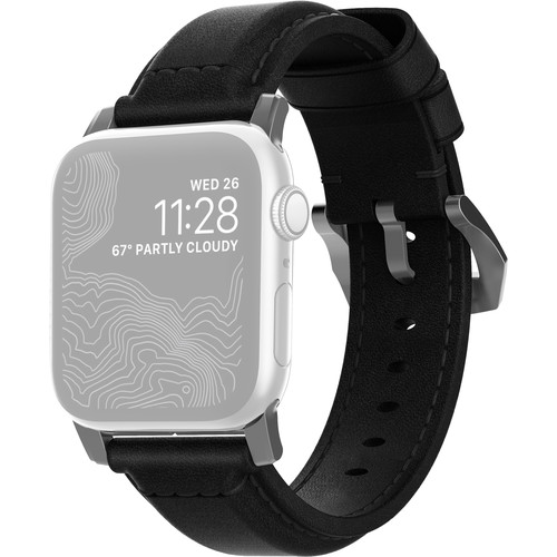 Nomad Traditional Leather Watch Strap for 42mm/44mm Apple Watch (Black, Silver Hardware)
