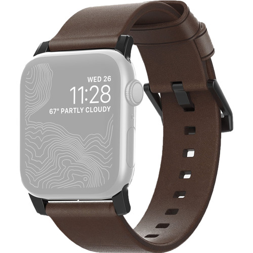 Nomad Modern Leather Watch Strap for 42mm/44mm Apple Watch (Rustic Brown, Black Hardware)