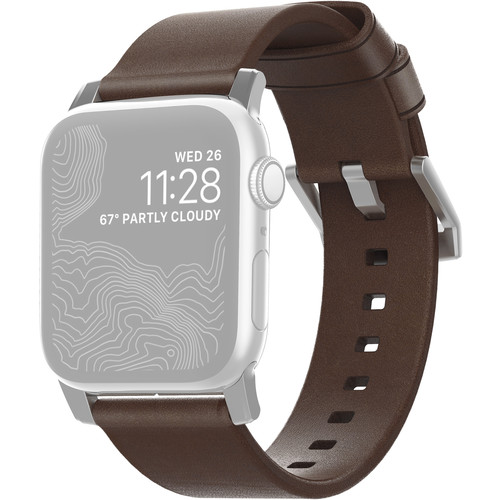 Nomad Modern Leather Watch Strap for 42mm/44mm Apple Watch (Rustic Brown, Silver Hardware)