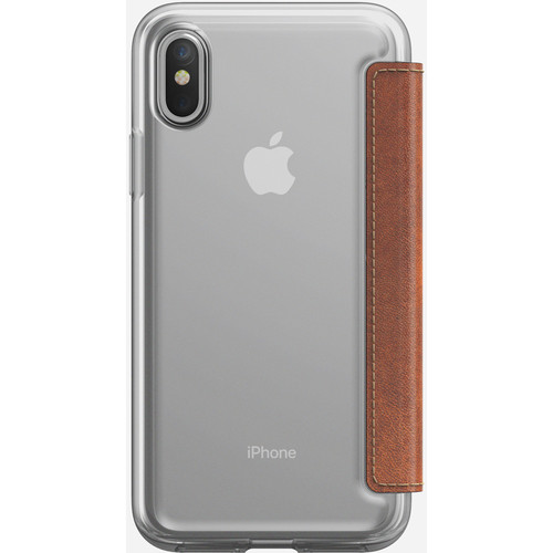 Nomad Clear Folio Case for iPhone X (Rustic Brown)