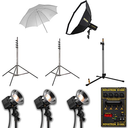 Novatron D1500 Three Fan-Cooled Head Kit with Umbrella and Softbox