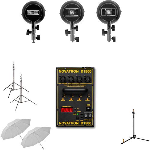 Novatron D1500 3-Light Flash Head Kit