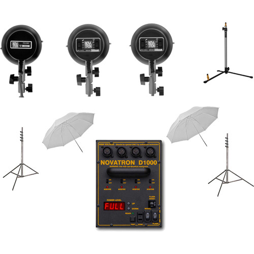 Novatron N2637KIT 3-Light Starter Kit with Two 3-Way Heads & One Standard Head
