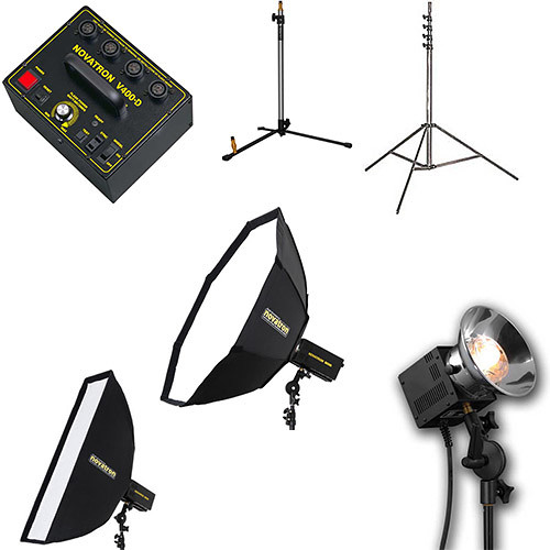Novatron V400-D 3-Way Fan-Cooled Head Complete Kit with 2 Softboxes (115VAC)