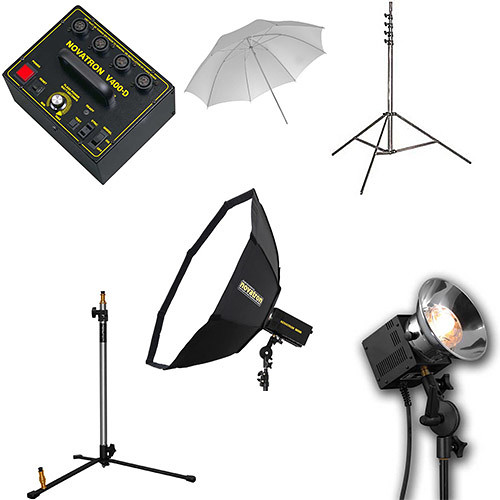 Novatron V400-D 3-Way Fan-Cooled Head Kit with Umbrella & Softbox (115VAC)