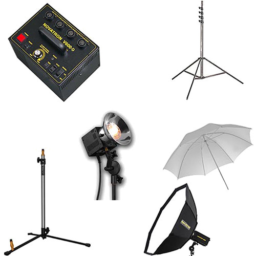 Novatron V600-D 3 Fan-Cooled Head Complete Kit with Umbrella & Softbox
