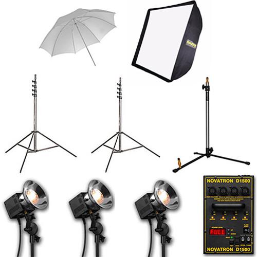 Novatron D1500 3-Head Kit with Umbrella and Softbox