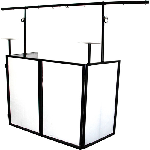Novopro SDX Foldable DJ Booth with Lighting Bar and Podium Stands (Black Frame)