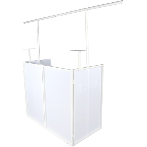 Novopro SDX Foldable DJ Booth with Lighting Bar and Podium Stands (White Frame)