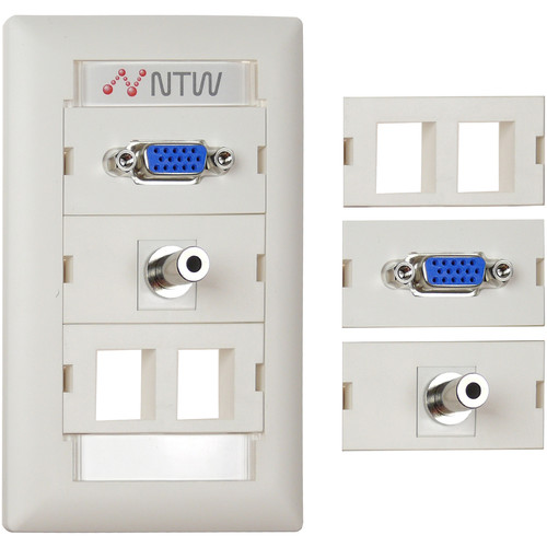 """NTW Pre-Configured Customizable UniMedia Wall Plate with VGA & 1/8"""" Audio Pass-Through with Two Blank Modules"""