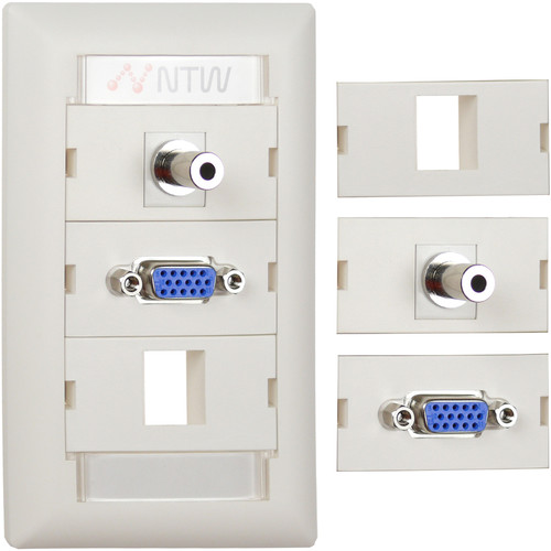 "NTW Pre-Configured Customizable UniMedia Wall Plate with VGA & 1/8"" Audio Pass-Through with One Blank Module"