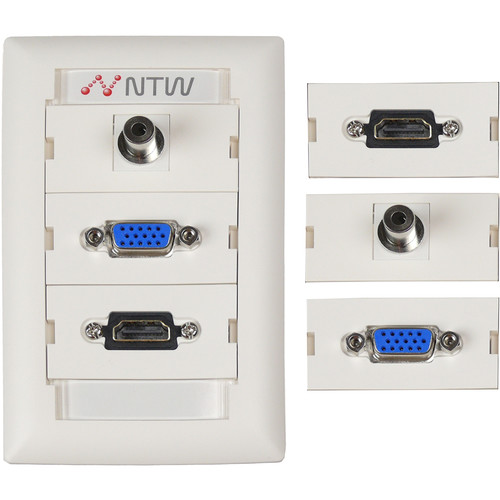 "NTW Pre-Configured Customizable UniMedia Wall Plate with HDMI, VGA, & 1/8"" Audio Pass-Through"