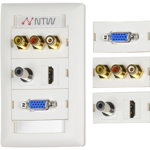 "NTW Pre-Configured Customizable UniMedia Wall Plate with HDMI, VGA, 1/8"" Audio, Composite Video, & RCA Stereo Audio Pass-Through"