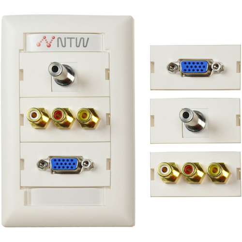 "NTW Pre-Configured Customizable UniMedia Wall Plate with VGA, 1/8"" Audio, Composite Video, & RCA Stereo Audio Pass-Through"