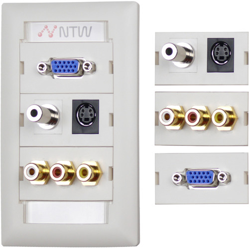 "NTW Pre-Configured Customizable UniMedia Wall Plate with VGA, 1/8"" Audio, S-Video, Composite Video, & RCA Stereo Audio Pass-Through"