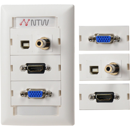 "NTW Pre-Configured Customizable UniMedia Wall Plate with HDMI Pigtail, VGA, 1/8"" Audio, & USB Pass-Through"