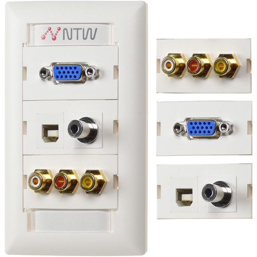 "NTW Pre-Configured Customizable UniMedia Wall Plate with VGA, 1/8"" Audio, Composite Video, RCA Stereo Audio, & USB Pass-Through"