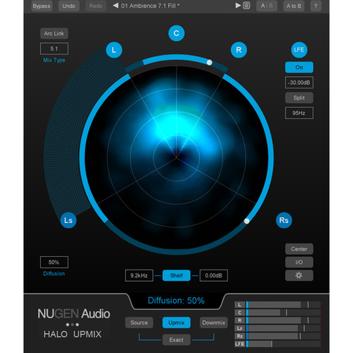 NuGen Audio Halo Upmix 9.1 Extension - Option for Halo Stereo to 5.1 and 7.1 Upmixer (Download)