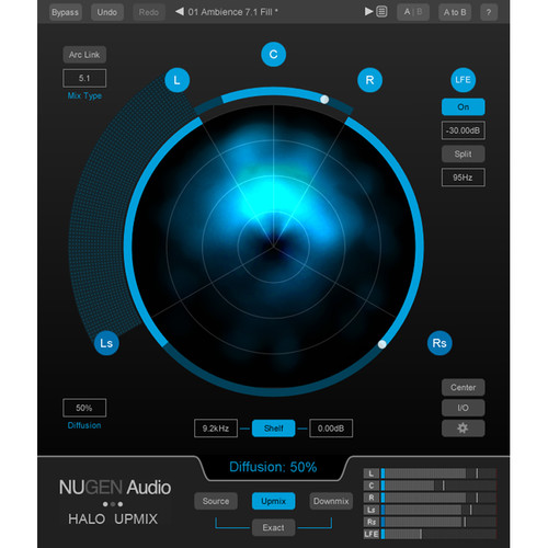 NuGen Audio Halo Upmix Stereo to Surround Upmixer Plug-In with 3D Immersive Extension (Download)