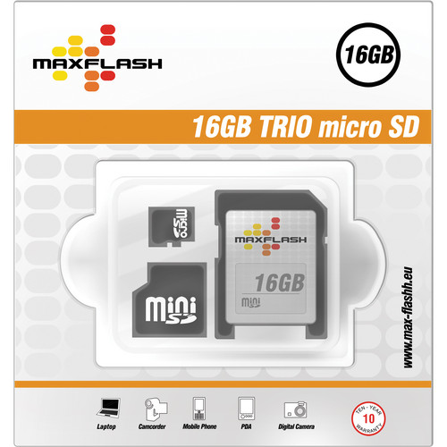 KJB Security Products 16GB 3-IN-1 MICRO HC CARD TRIO