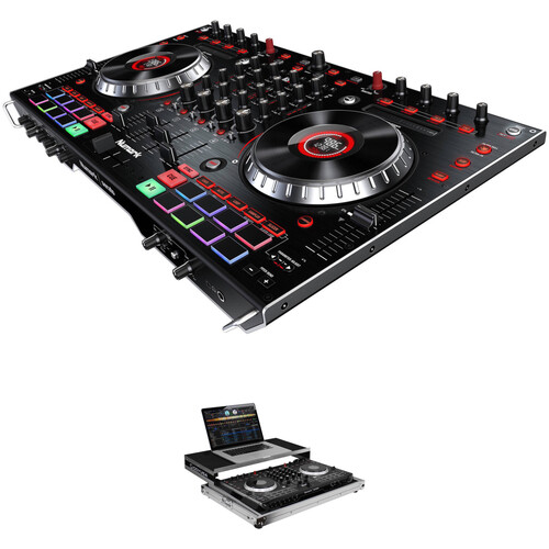 Numark NS6II USB DJ Controller Kit with Flight Case with Sliding Laptop Shelf