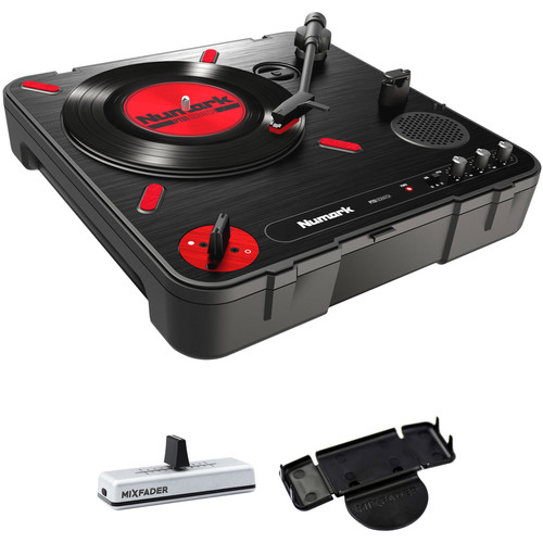 Numark PT01 Scratch - Portable Turntable Kit with Wireless Mixfader, Dock, and Case